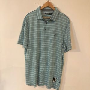 Nautica Polo Gray & Aqua Striped Men's Shirt XL